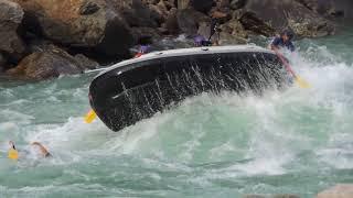 rishikesh river rafting boat flip accident full original video and rescue work successful
