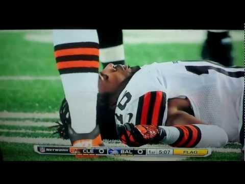 Ravens Vs. Browns- Josh Cribbs Knocked Out By Dannell Ellerbe