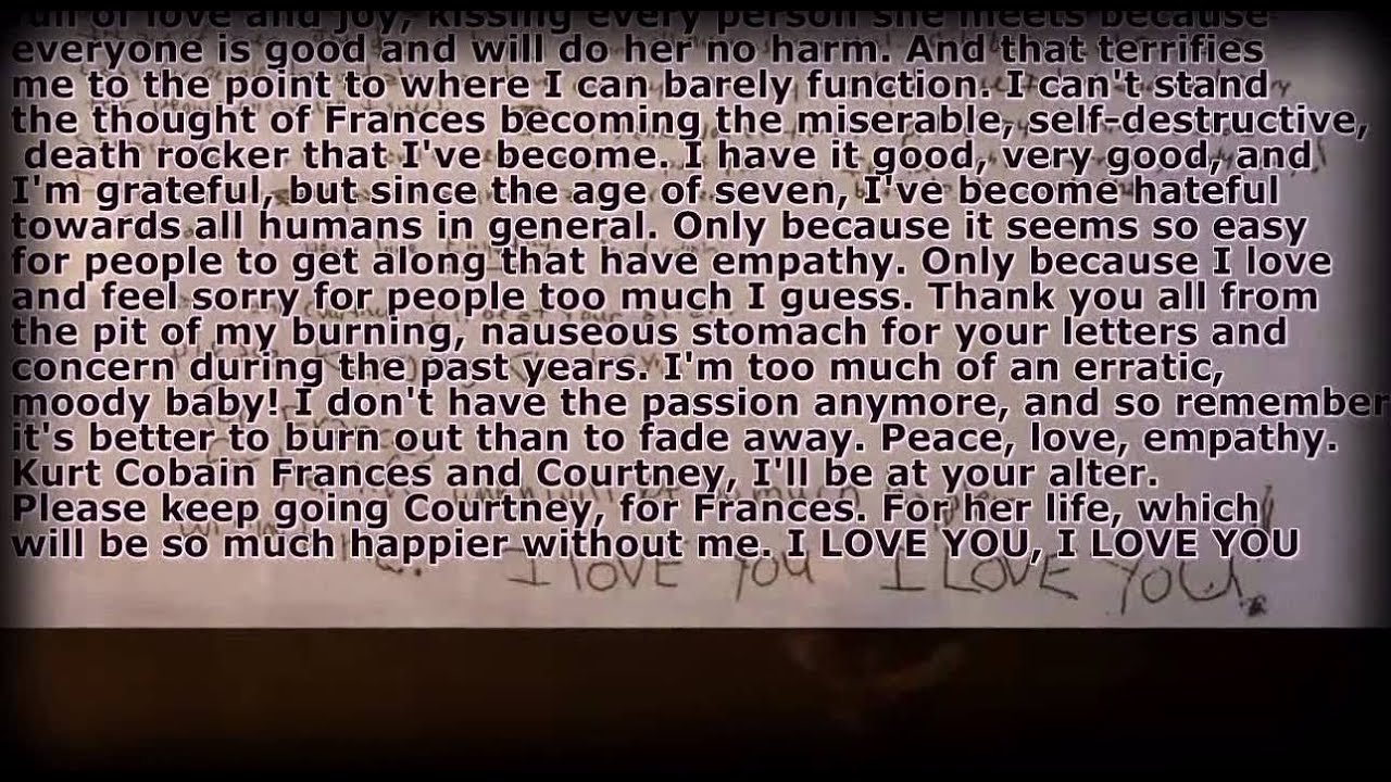 kurt cobain suicide letter the complete note of nirvana s kurt cobain 12695 | maxresdefault