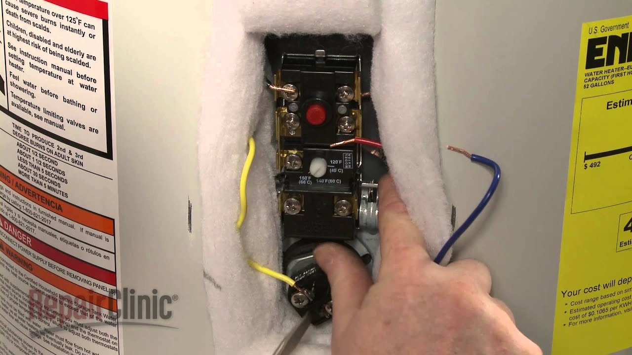 ao smith electric water heater upper thermostat 9001954045 youtube rh youtube com connecting a hot water heater how to wire up a 220v hot water heater