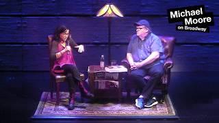 Janeane Garofalo visits Michael Moore on Broadway
