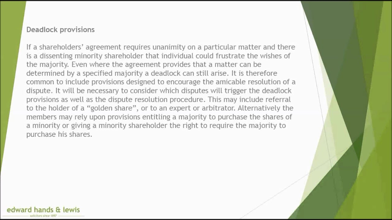 shareholders agreement Companies with shareholders agreements from before 1 may 2011 are probably wondering how the new companies act will impact on them.