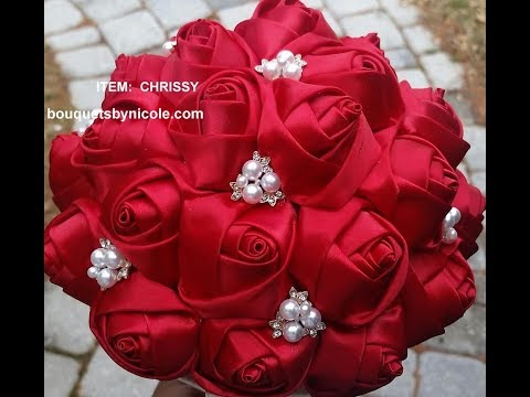 #1 DIY How to make Brooch Bridal Bouquet Fabric Flowers  No Wires Easy Chrissy $39.99