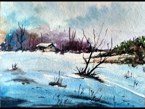 How to Paint A Snowy Winter Landscape | Watercolor Painting