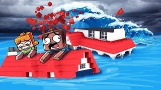 Minecraft | TSUNAMI LEGO BASE CHALLENGE - Tsunami Destroys Lego! (Lego vs Tsunami)