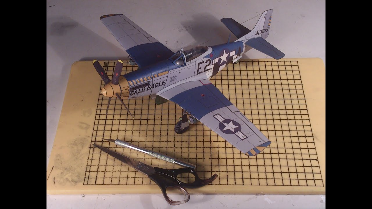 Papercraft How to make a cool paper plane model: instruction| P-51D Mustang