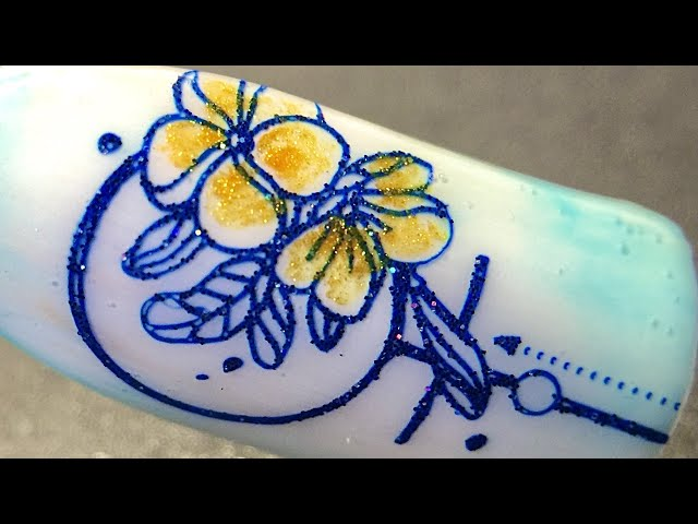 Demo_ Flower glitter stamping nail art using sticky stamping polish and watercolor polish _SheModern