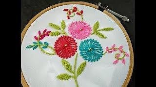 Hand Embroidery | Shefali Stitch Flower Embroidery | Chemanthy Stitch | Easy Flower Embroidery