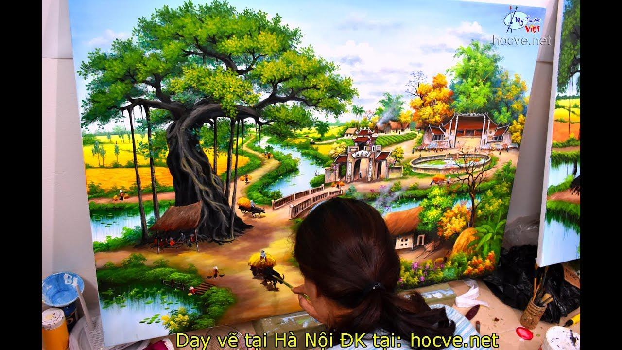 Vẽ tranh phong cảnh làng quê (Nằm trong khóa học vẽ tranh tường online) do MỸ THUẬT VIỆT tổ chức.