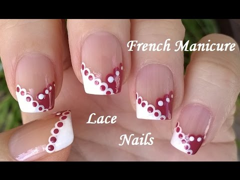 Lace nail art tutorial by dotting tool in white mauve chevron lace nail art tutorial by dotting tool in white mauve chevron french manicure designs prinsesfo Image collections