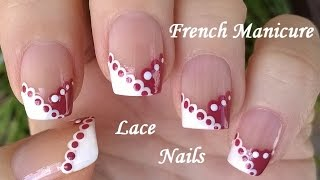 lace nail art tutorial by dotting tool in white mauve chevron french manicure designs