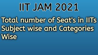 IIT JAM 2021| Total no. Seats in IITs  category wise and Subject wise