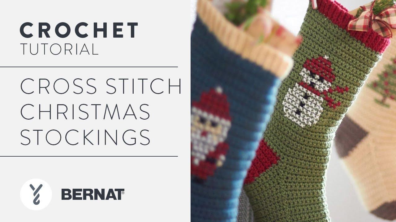 7f99f8e8c Cross Stitch Crochet Christmas Stocking - YouTube