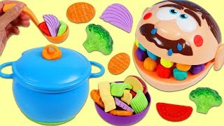 Feeding Sick Mr. Play Doh Head Homemade Vegetable Soup Using Kitchen Toys!