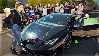 Picking Up Sister Sarah Grace From School In Lamborghini!
