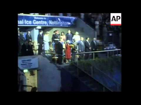 Queen visits Islamic centre, ice rink. Egg thrown at car.