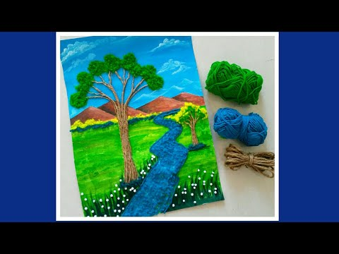 Easy Landscape scenery for kids using Woollen & jute || Diy Kids craft | school Project ideas
