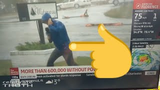 Weatherman Dramatically Braces for Hurricane Florence While 2 Guys Casually Walk By