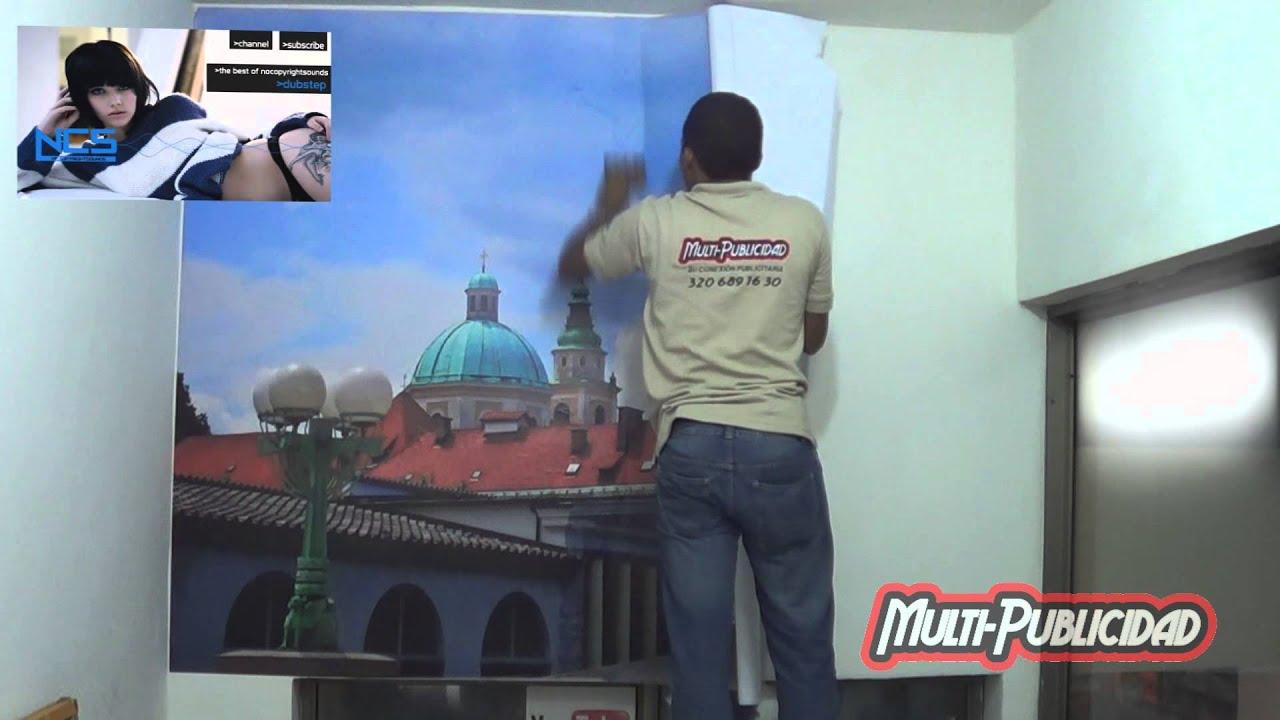 Como pegar un vinilo en la pared multi publicidad youtube - Pegar vinilo en pared ...