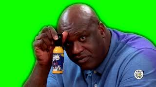 Green Screen-Shaq Tries to Not Make a Face While Eating Spicy Wings
