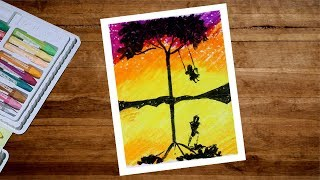 Pastel Drawing - Girl On Swing Drawing With Oil Pastel Step By Step