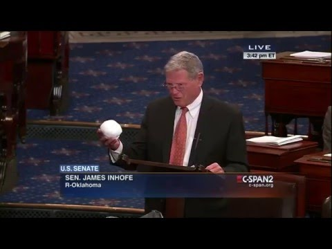 Sen. Jim Inhofe attempts to disprove global warming with snow house and snowball. FULL VIDEO HD