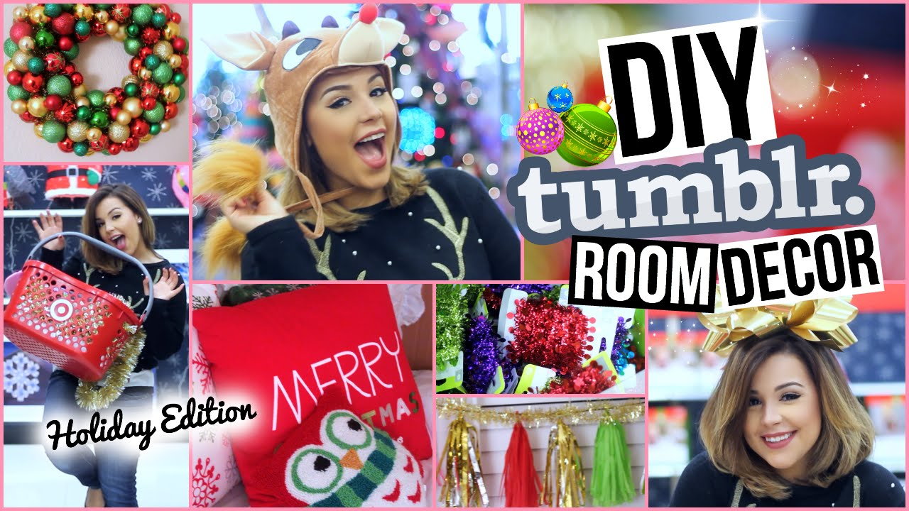 diy tumblr room decor + affordable christmas decorations! - youtube