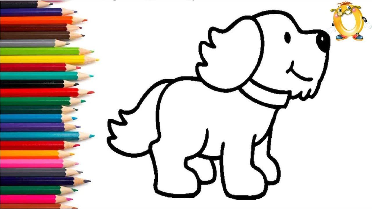 Раскраска для детей СОБАЧКА. Мультик - Раскраска. Учим ...