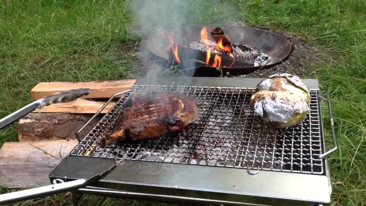 Snow Peak fire pit steak cooking. - Snow Peak Fire Pit Steak Cooking. - YouTube