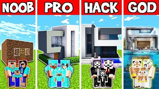 Minecraft: FAMILY STUNNING MODERN HOUSE BUILD CHALLENGE - NOOB vs PRO vs HACKER vs GOD in Minecraft