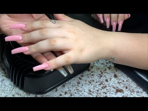 Long Pink Tapered Square Acrylic Nail - YouTube