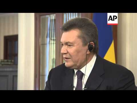 In his first interview since fleeing to Russia, Ukraine's ousted president said Wednesday that he wa
