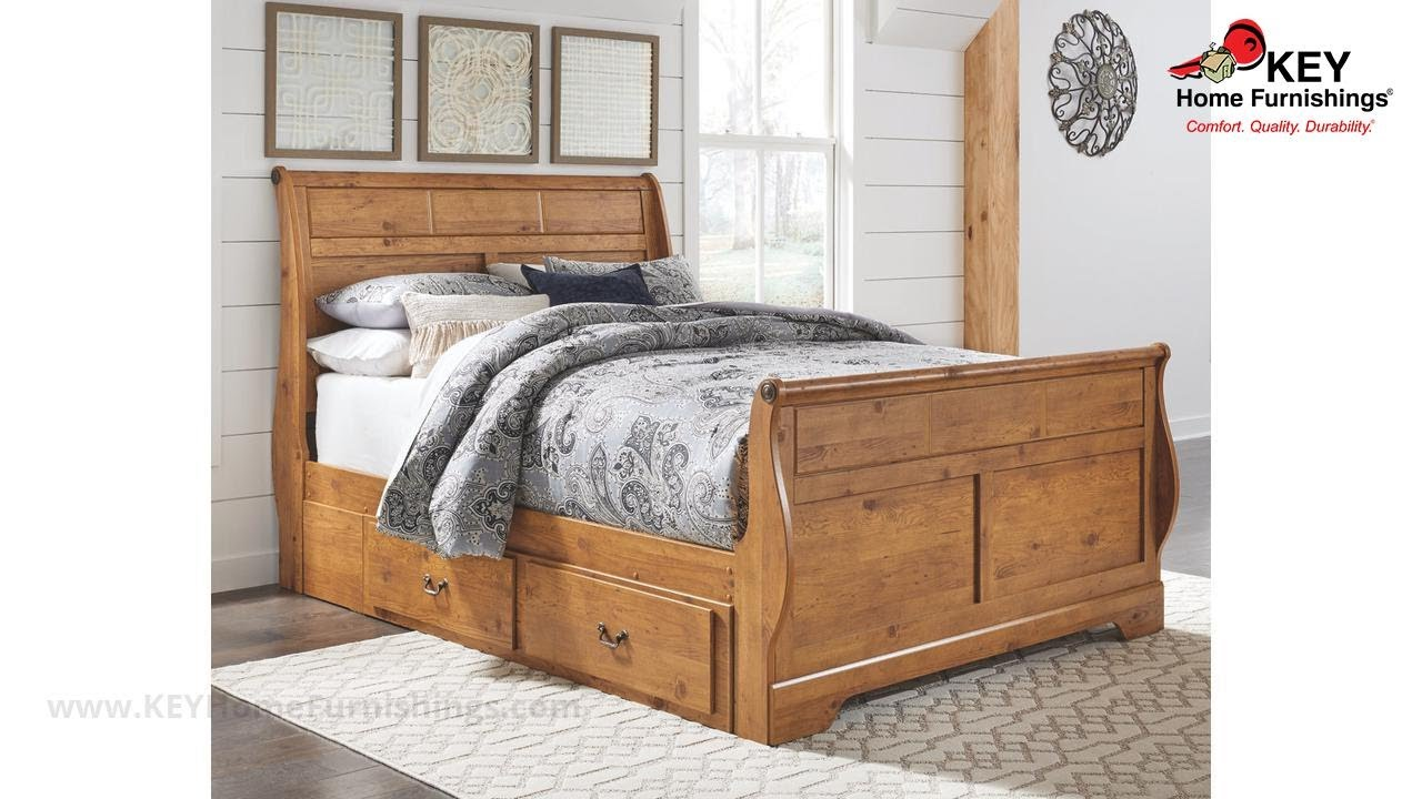 - Ashley Bittersweet Queen Sleigh Bed With Storage (APK-B219-QSS