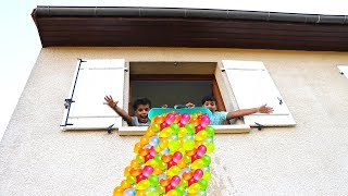 Children Throw Water Balloon Through The Window, funny videos for kids
