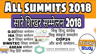 summits and conferences 2018|summits held in 2018 |शिखर सम्मलेन 2018|current affairs for SSC,VDO,UPP