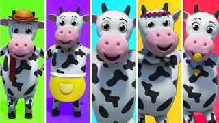 Vaca Da Família Dedo | Rimas De Berçário Para Crianças | Crianças Rimam | Cow Finger Family