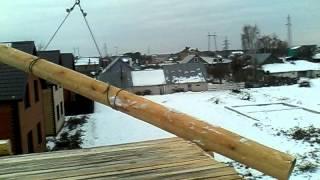 самодельный кран(Грузоподъемность 350 кг или 6 метровое бревно диаметром 35-40 см . Вылет стрелы 6 метров , зона охвата 360 градусов..., 2014-10-29T11:05:23.000Z)