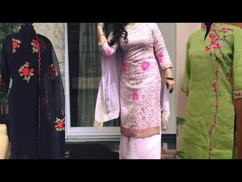Trendy Machine Embroidery Suits Design Stylish Machine Kdaai Suit For Girls