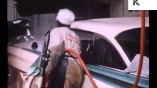 1950s United States, Car Wash, Black Workers Washing Cars, Archive Footage