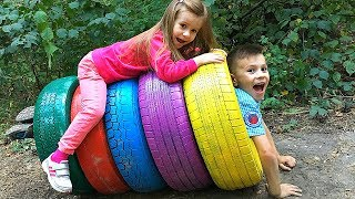 Kids play with COLOR TIRES  & GIANT STACKING RINGS  Video for Kids Joy Joy Lika