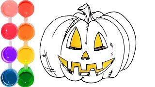 How to Draw & Color a Halloween Pumpkin | Drawing Tutorial for Kids | Learn Colors