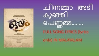 Chinnamma adi song full lyrics in malayalam I Oppam movie song