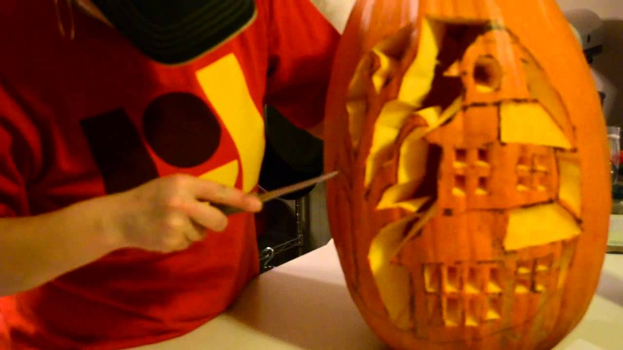 Haunted house pumpkin carving youtube