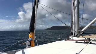 Raising the Wingaker Spinnaker on a Lagoon 450 Catamaran