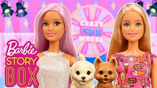 Barbie and Puppies try to win big at Crazy Fun Wheel | Barbie Story Box | Barbie