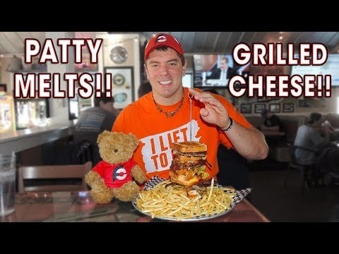 GRILLED CHEESE PATTY MELT BURGER CHALLENGE!!