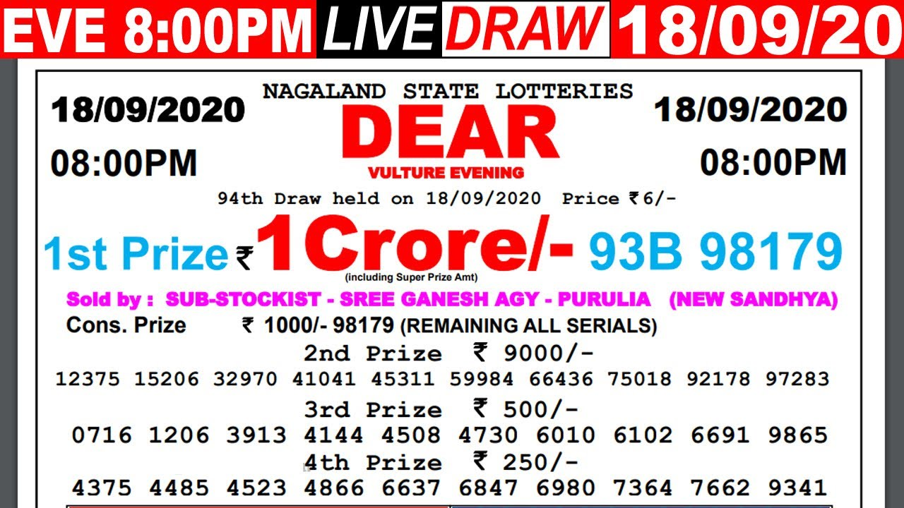 Lottery Sambad Live result 8PM Date:18.09.2020 Dear Evening Nagaland Live TodayResult Lottery