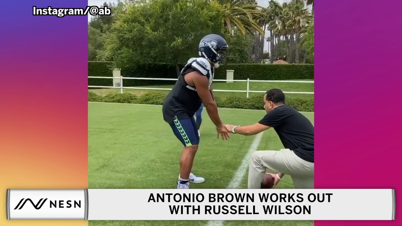 Antonio Brown Catches Passes From Russell Wilson