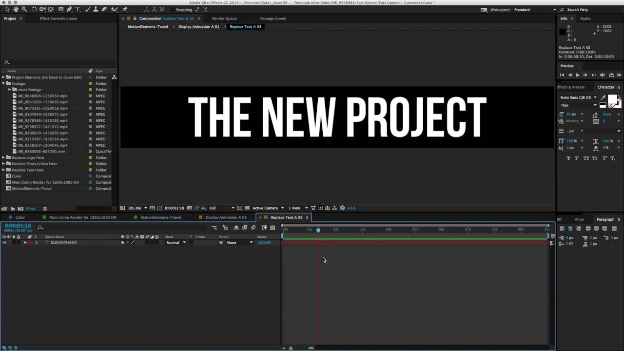 How to use AE template in your video #3 Insert and resize footage