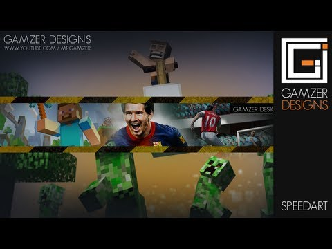 Gaming Youtube Channel Art Free Pack Download // MrGamzer's Pack // Photoshop CS Speed Art